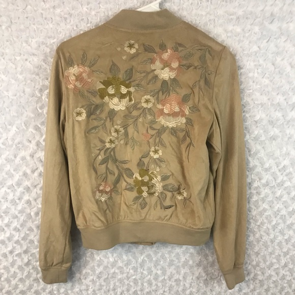 bagatelle Jackets & Blazers - Bagatelle Floral Embroidered Faux Suede Jacket